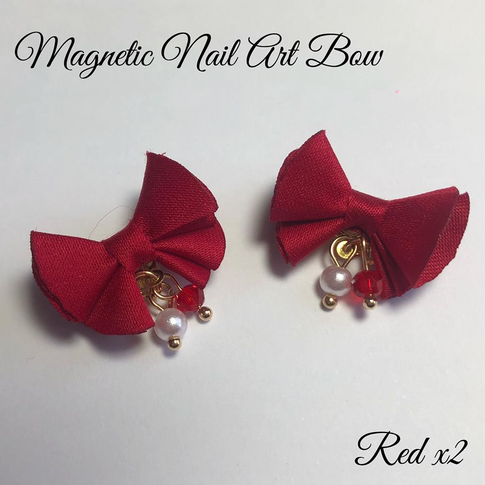 Magnetic Nail Art Bows - Red x2